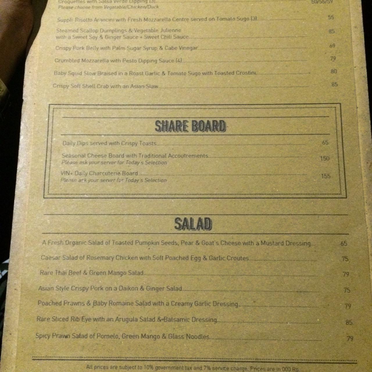 Menu Vin Seminyak Bali Best Restaurants Cafe In Bali Guide